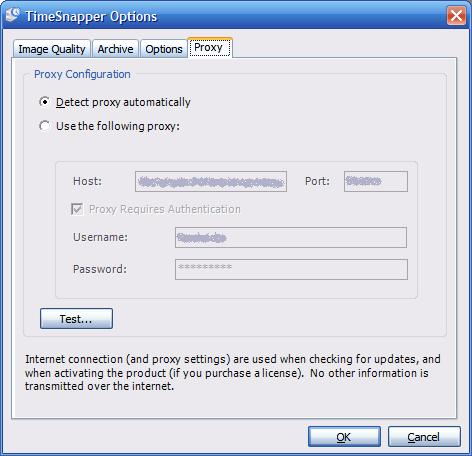 The Options form -- Proxy Tab
