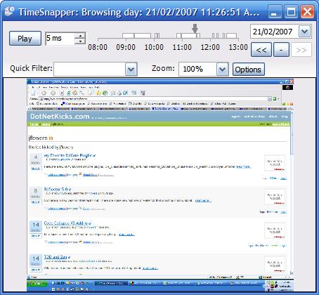TimeSnapper Browse Day Screen
