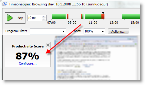 Productivity Score in day browser